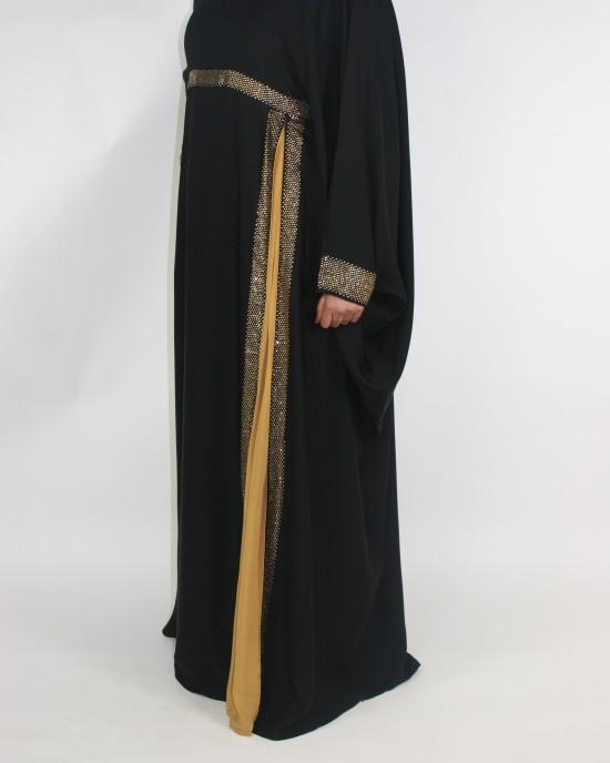 Amani's Gold and Black Farasha Abaya Style With Diamantes UK - Abayas - Abaya067