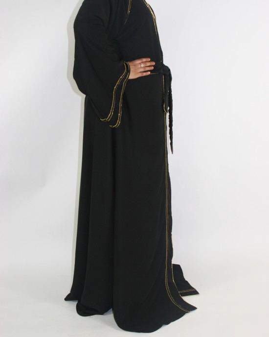 Amani's Open Abaya UK With Gold Lined Borders - Abayas - Abaya073