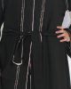Amani's Open Abaya UK With Silver Lined Borders - Abayas - Abaya072