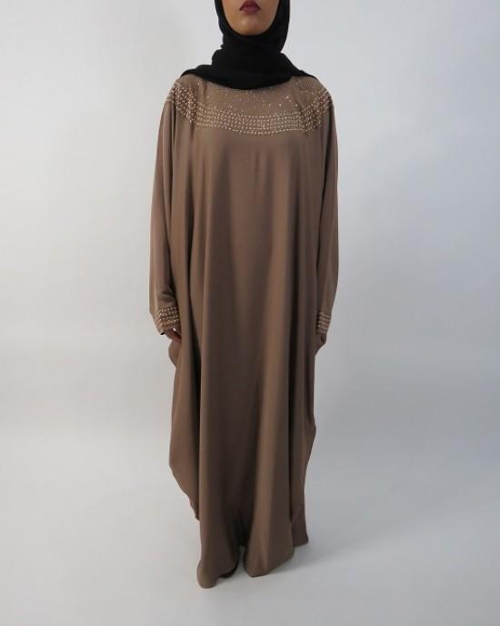 Amani's Beige Farasha Abaya Style UK - Abayas - Abaya030