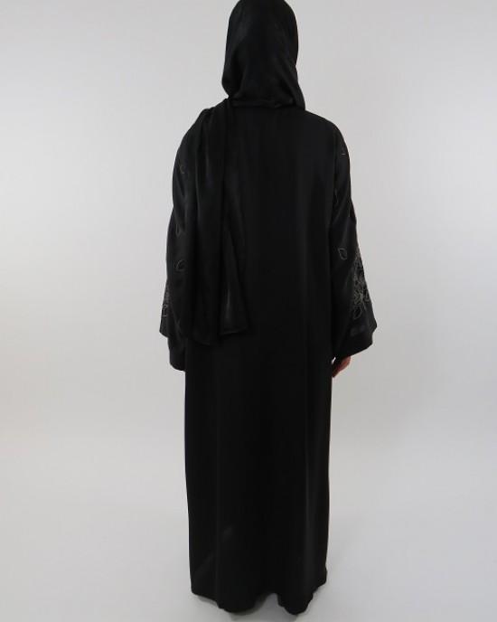 Amani's Black Embroidery Abaya UK Style - Abayas - Abaya107