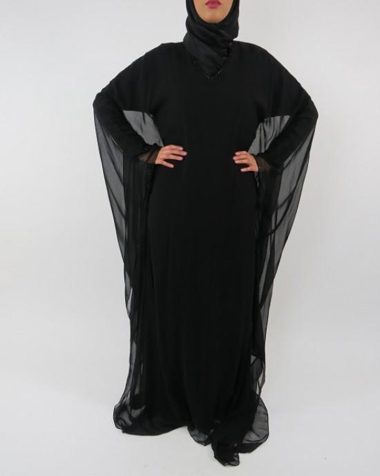 Amani's Black Farasha Style Abaya UK - Abayas - Abaya108