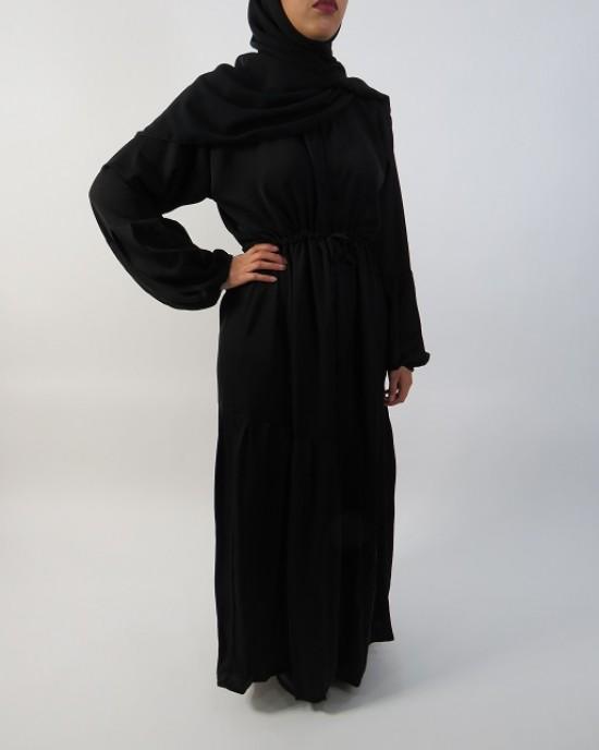 Amani's Black Half Pleated Open Abaya UK - Abayas - Abaya038