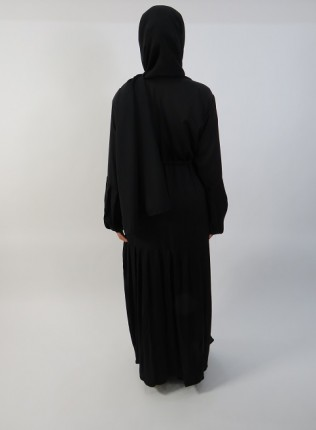 Amani's Black Half Pleated Open Abaya UK