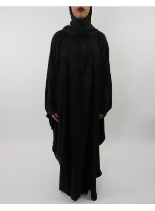 Amani's Black On Black Embroidery Farasha Abaya Style UK