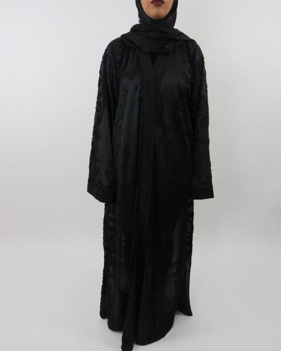 Amani's Black Transparent Velvet Open Abaya UK Style - Abayas - Abaya095