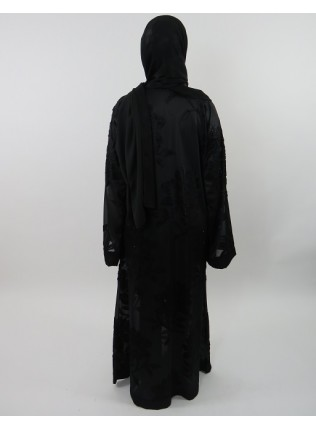 Amani's Black Transparent Velvet Open Abaya UK Style