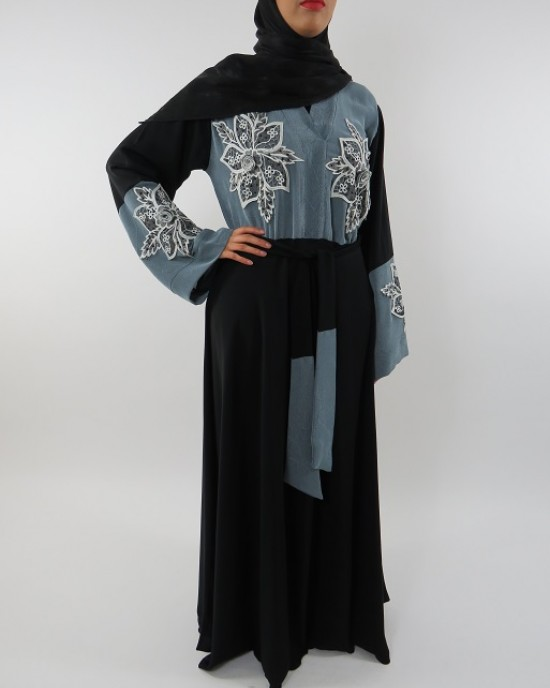 Amani's Black and Blue Abaya UK Style - Abayas - Abaya115