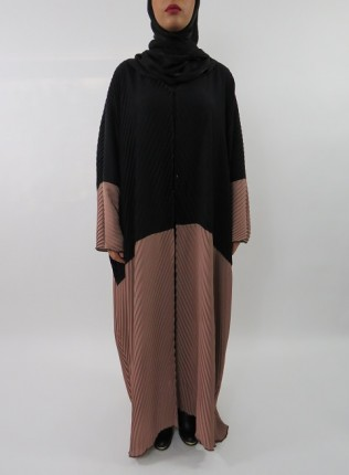 Amani's Black and Brown Full Pleated Open Abaya Farasha Stye UK