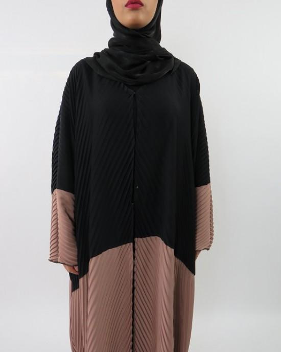 Amani's Black and Brown Full Pleated Open Abaya Farasha Stye UK - Abayas - Abaya052