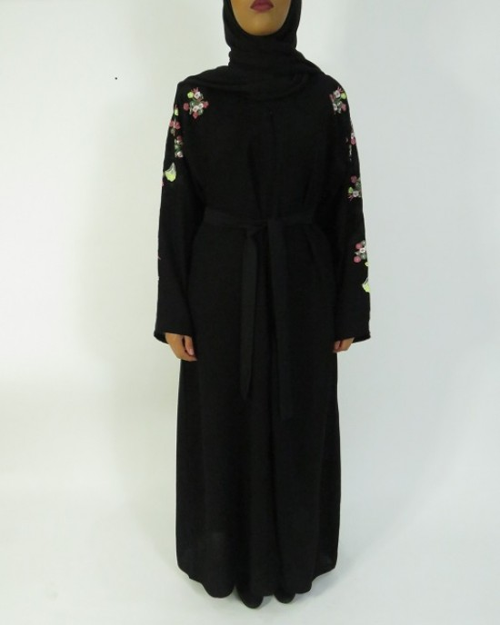 Amani's Black and Floral Embroidery Abaya UK - Abayas - Abaya010