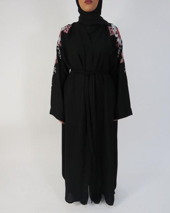 Amani's Black and Floral Embroidery Abaya Style UK - Abayas - Abaya009
