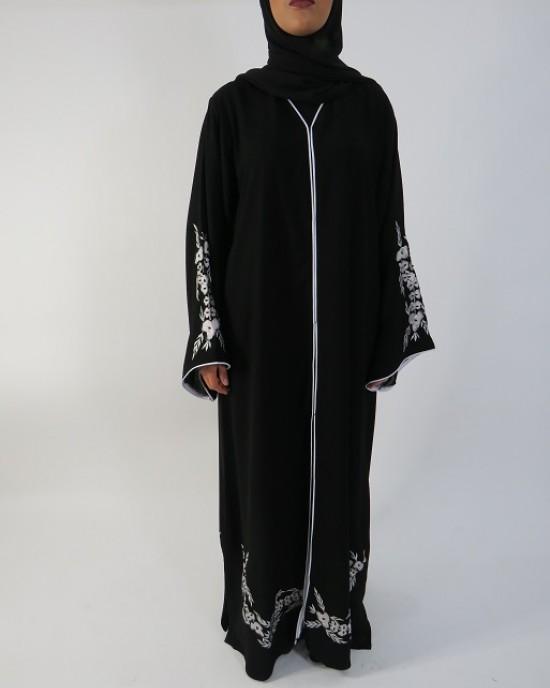 Amani's Black and White Floral Embroidery Open Abaya Style UK - Abayas - Abaya007