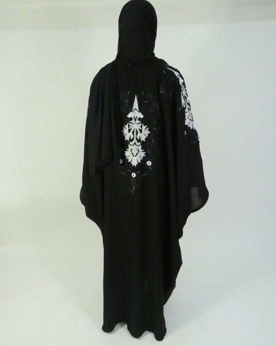 Amani's Black and White Floral Embroidery Open Abaya Style UK - Abayas - Abaya006