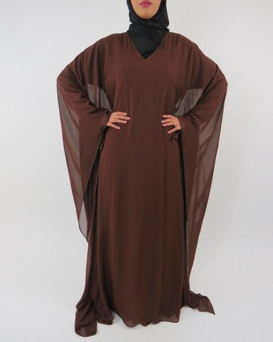 Amani's Brown Farasha Style Abaya UK - Abayas - Abaya110