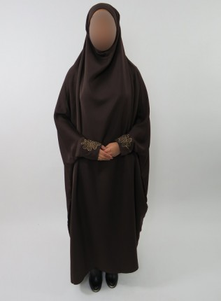 Amani's Brown Neda Jilbab With Diamantes – Burka – Burqa – Overhead Abaya Style UK