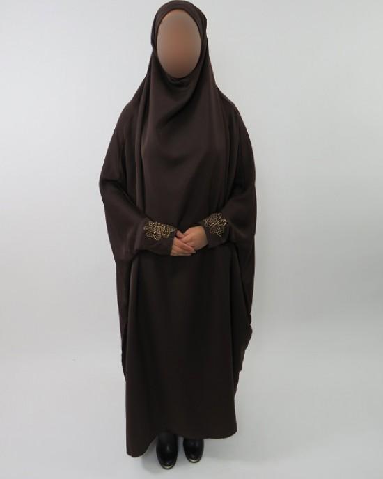 Amani's Brown Neda Jilbab With Diamantes – Burka – Burqa – Overhead Abaya Style UK - Burqa - Jilbabs - Burka - NedaJilbab003