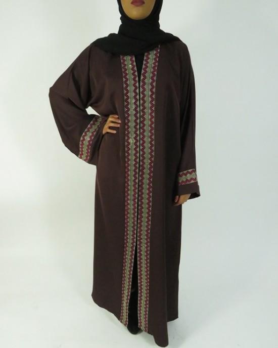 Amani's Brown Open Abaya Style UK - Abayas - Abaya004