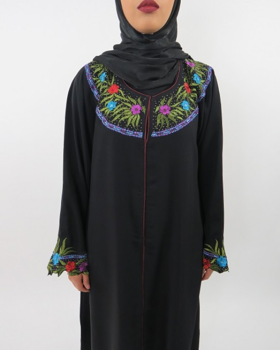 Amani's Colour Embroidery Open Abaya Style UK - Abayas - Abaya086