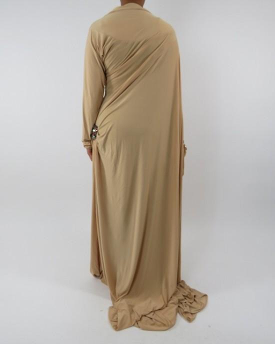 Amani's Cream Saree Style Abaya UK - Abayas - SareeAbaya004