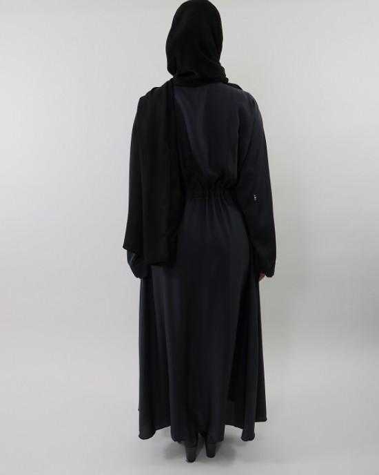 Amani's Stylish Dark Grey Beaded Abaya Style UK - Abayas - Abaya065