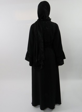 Amani's Designer Black on Black Embellished Umbrella Cut Abaya Style UK