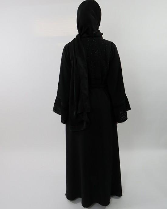 Amani's Designer Black on Black Embellished Umbrella Cut Abaya Style UK - Abayas - Abaya055