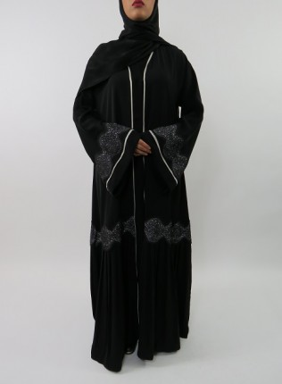 Amani's Designer Open Abaya With Lower Part Pleated Style UK
