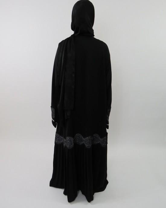 Amani's Designer Open Abaya With Lower Part Pleated Style UK - Abayas - Abaya044