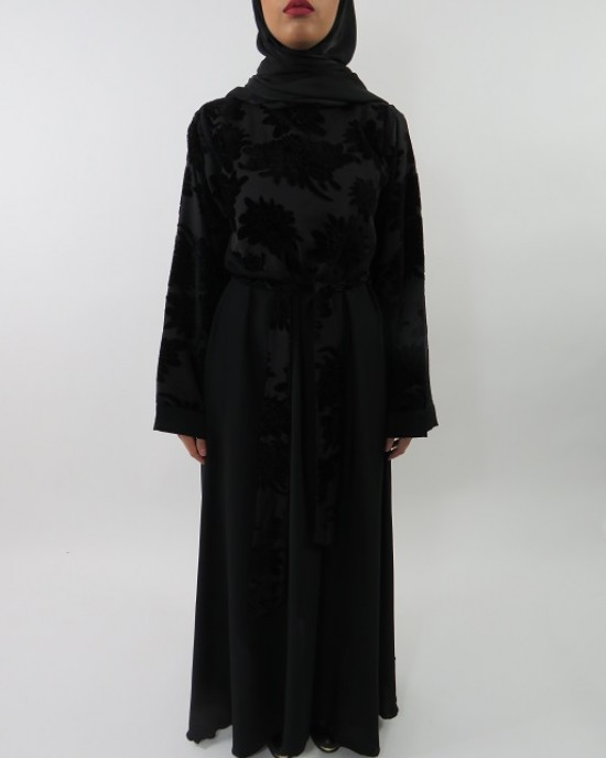 Amani S Designer Velvet Floral Printed Abaya Style Uk