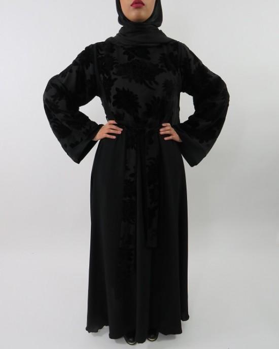 Amani's Designer Velvet Floral Printed Abaya Style UK - Abayas - Abaya041