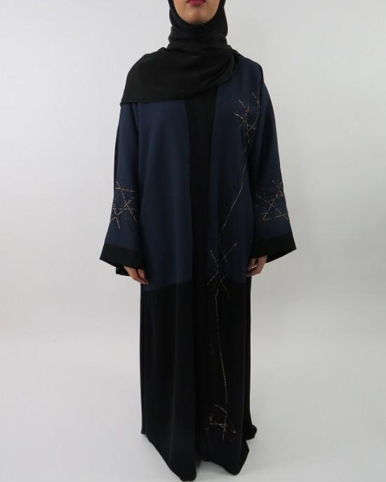 Amani's Exclusive Two-Tone Abaya Style UK With Gold And Black Gemstones - Abayas - Abaya059
