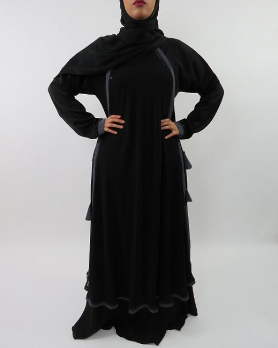 Amani's Flattering Silhouette Designer Chiffon Abaya Style UK