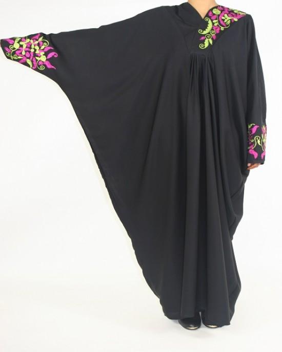Amani's Floral Colour Embroidery Abaya Style UK -  - Abaya101