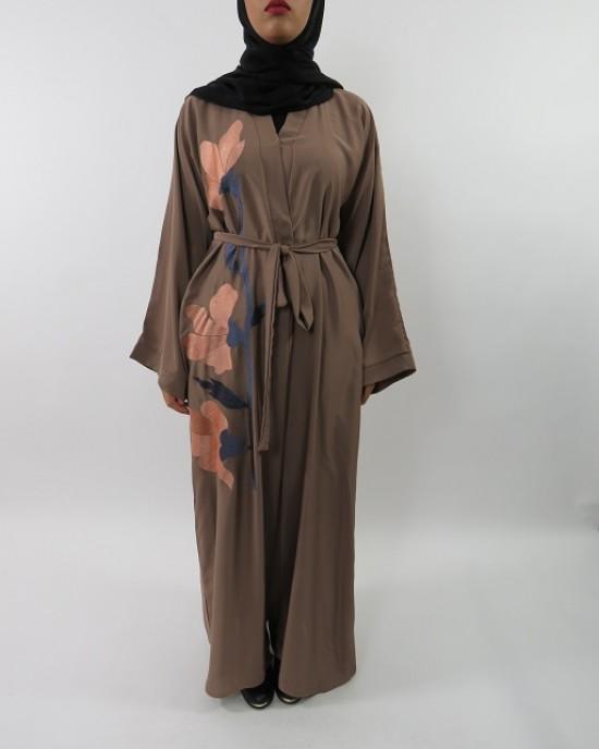 Amani's Floral Embroidery Open Abaya Jacket Style UK - Abayas - Abaya015