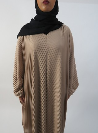 Amani's Full Pleated Beige Farasha Abaya Style UK