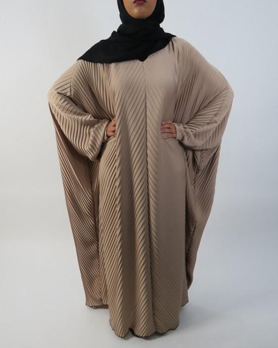 Amani's Full Pleated Beige Farasha Abaya Style UK - Abayas - Abaya036
