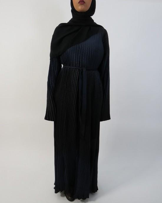 Amani's Full Pleated Black and Blue Abaya Straight Cut Style UK - Abayas - Abaya033