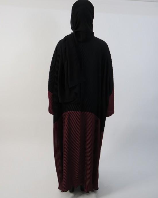 Amani's Full Pleated Black and Burgundy Open Abaya Style - Abayas - Abaya035