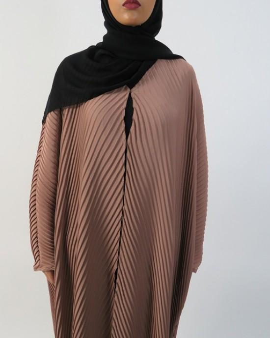 Amani's Full Pleated Light Brown Open Abaya Style UK - Abayas - Abaya031