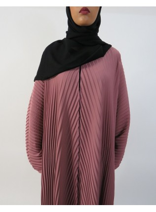 Amani's Full Pleated Peach Open Abaya Style UK