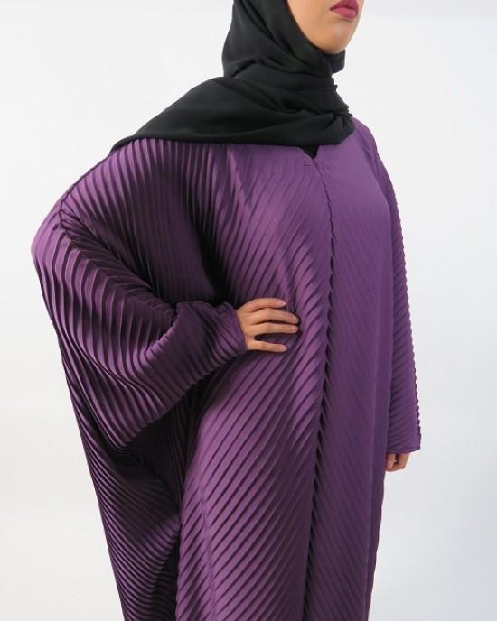 Amani's Full Pleated Purple Abaya Style UK - Abayas - Abaya032