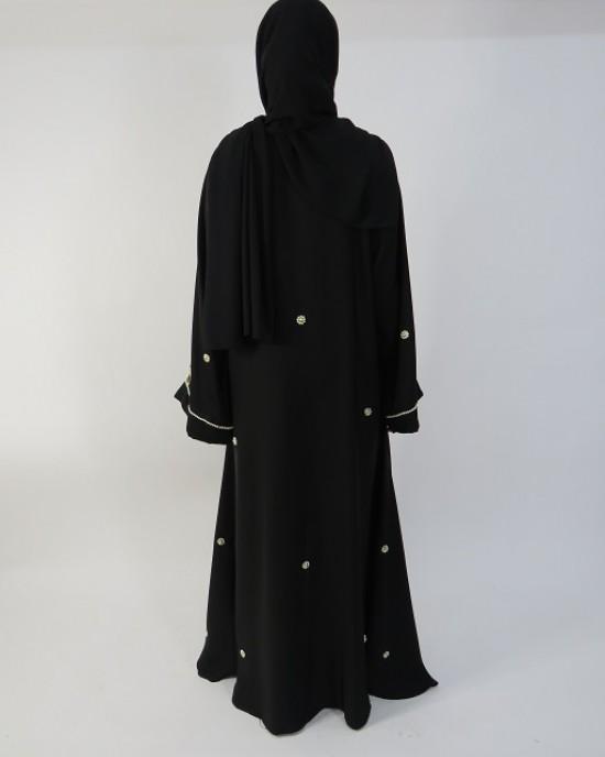 Amani's Gold and Black Beads Occasion Open Abaya Style UK - Abayas - Abaya014
