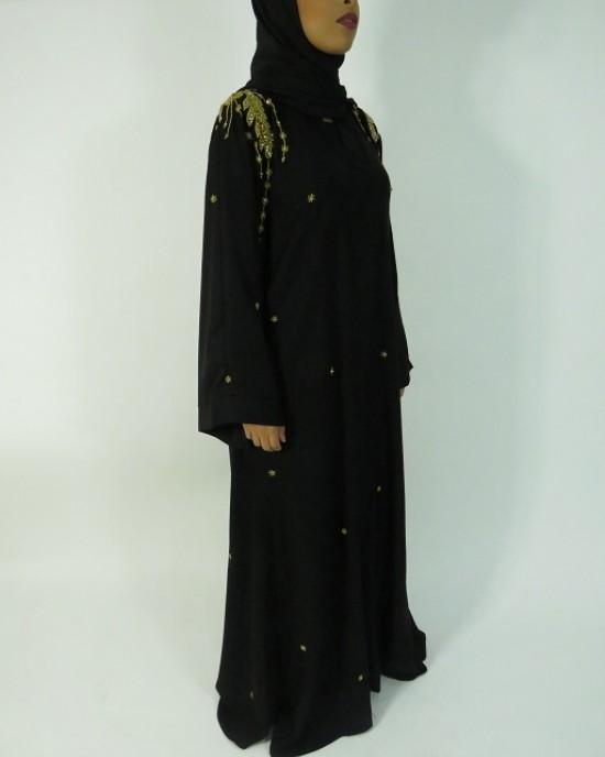 Amani's Gold and Black Occasion Open Abaya Style UK - Abayas - Abaya002