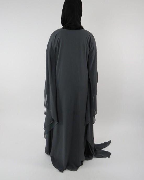 Amani's Grey Farasha Style Abaya UK - Abayas - Abaya109