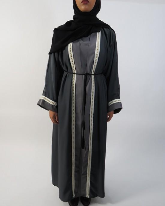 Amani's Grey Two-Tone With Pearls Abaya Style UK - Abayas - Abaya028