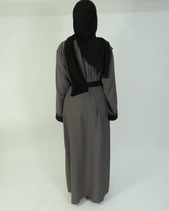 Amani's Grey and Black Lace Abaya Style UK - Abayas - Abaya008