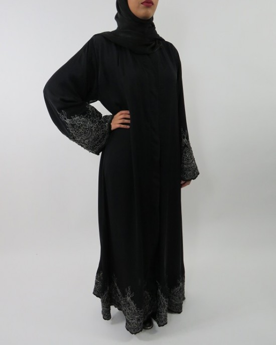 Amani's Heavy Beaded Open Abaya Jacket Style UK - Abayas - Abaya042