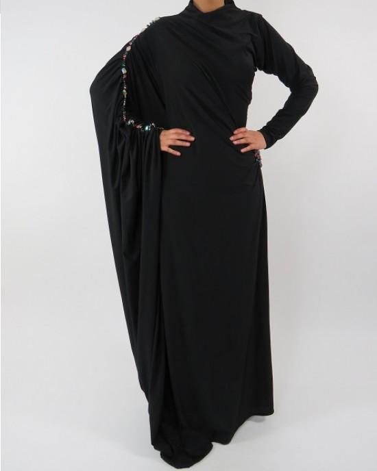 Amani's Jersey Black Saree Style Abaya UK - Abayas - SareeAbaya005