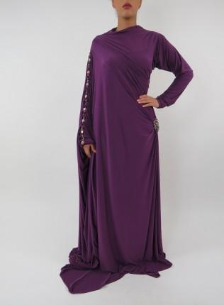 Amani's Jersey Purple Saree Style Abaya UK